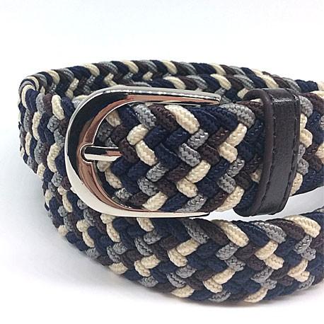 Cinturón trenzado marrón y azul