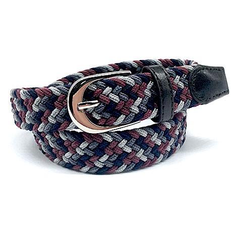 Cinturón trenzado gris y granate