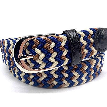 Cinturón trenzado azul y beig