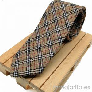 Corbata beige cuadros