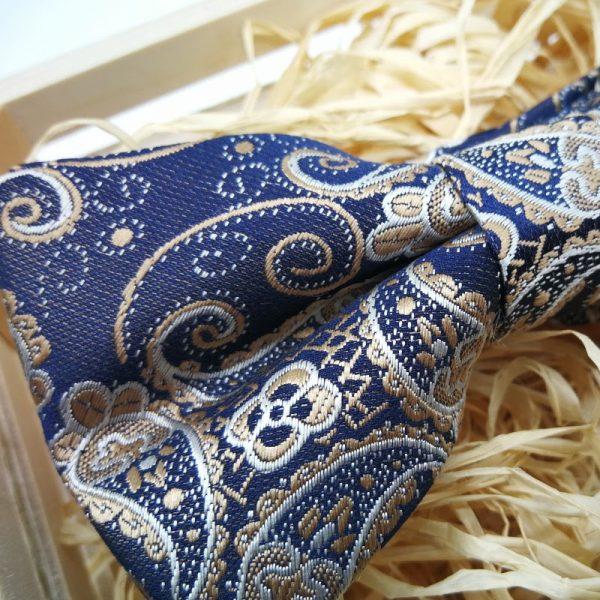 Pajarita paisley azul y beig