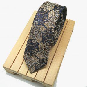 Corbata Paisley azul y beig