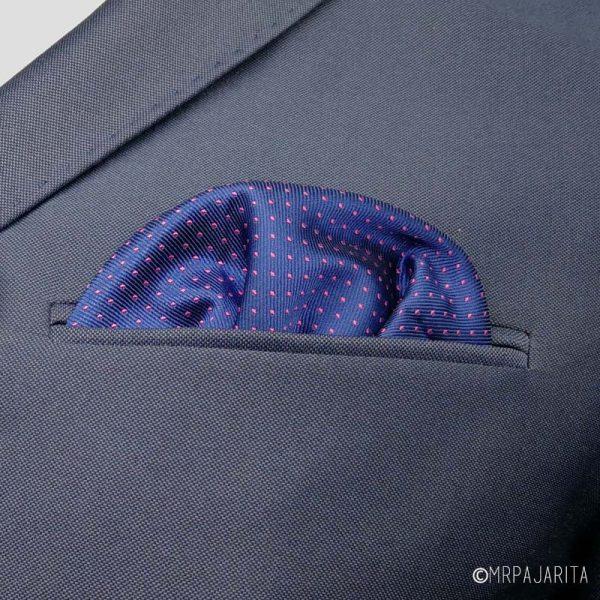 Pañuelo Azul marino con lunares rosas