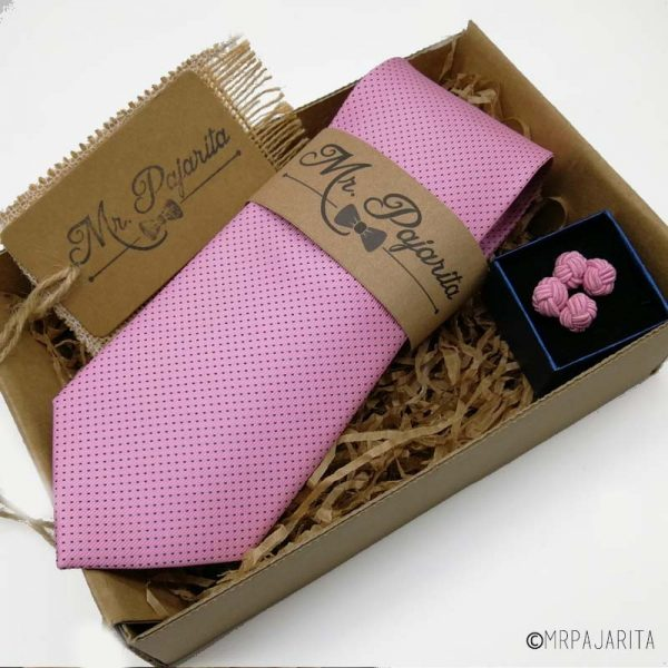 Pack corbata rosa y gemelos
