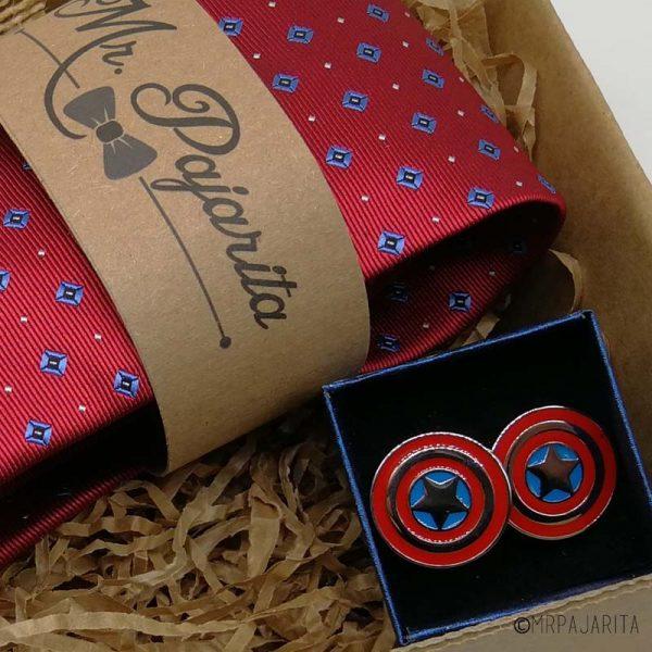 Pack corbata guinda y gemelos