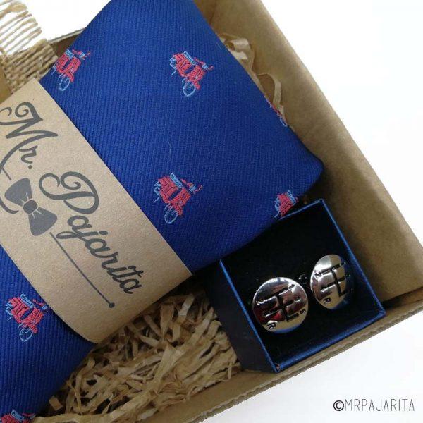 Pack corbata vespas y gemelos