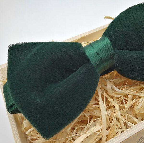 pajarita de terciopelo verde