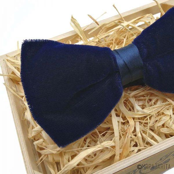 Pajarita de terciopelo azul