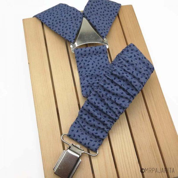 Conjunto de tirantes y pajarita ameba azul