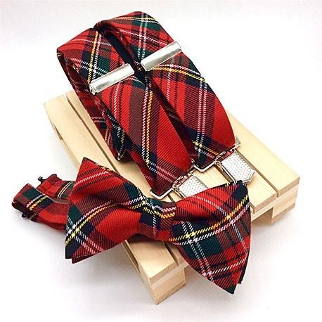 Pajarita y tirantes rojos cuadros escoceses