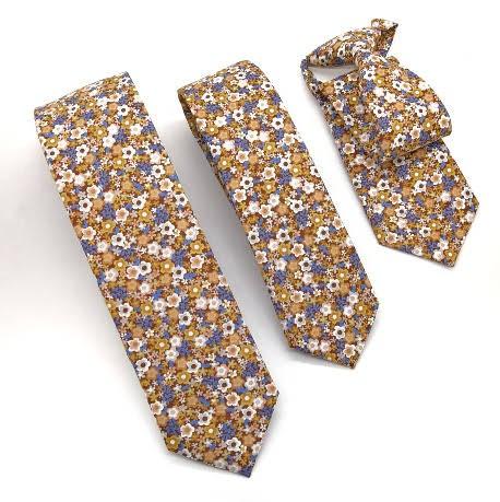 Corbata Flores Azul y Beig