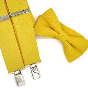Tirantes y pajarita amarillo intenso