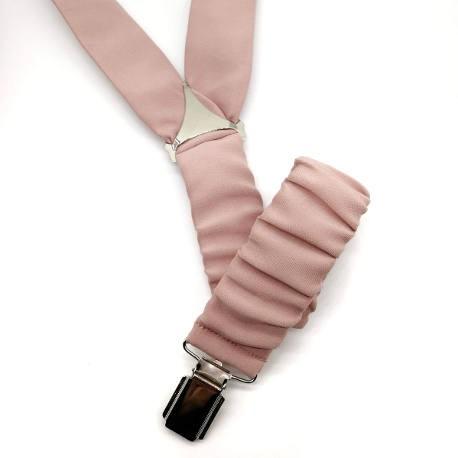 Conjunto de tirantes y pajarita rosa palo