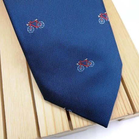Corbata bicicletas azul marino