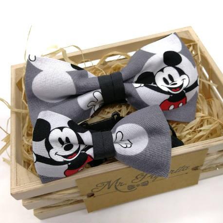 Pajarita Mickey Mouse gris
