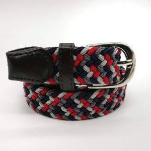 Cinturón rojo, gris y azul