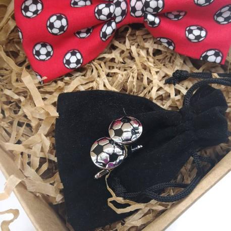 Pack regalo pajarita y gemelos futbol