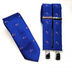 Tirantes y corbata azulón motos