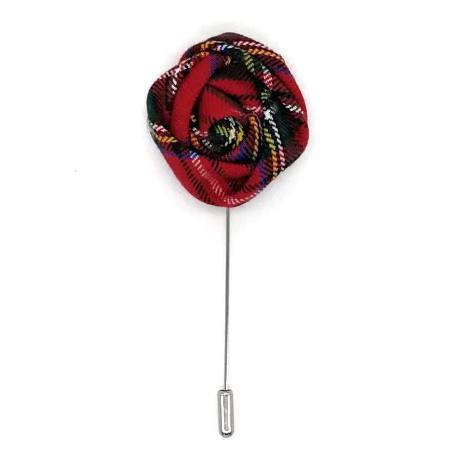 Alfiler solapa flor rojo tartán