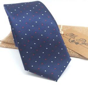 Corbata Azul marino con lunares rojos y blancos