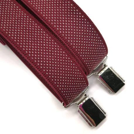 Tirantes y corbata punto burdeos