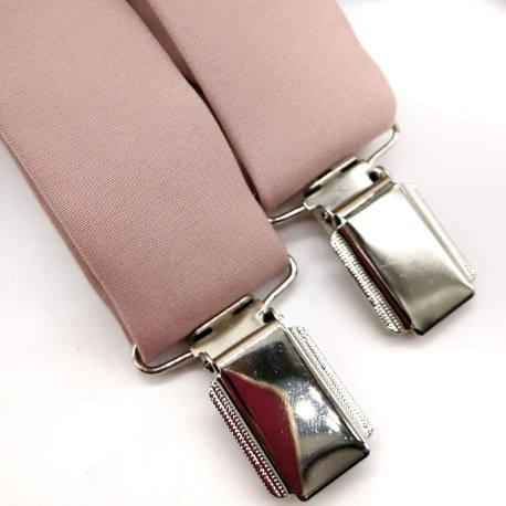 Tirantes y corbata rosa palo