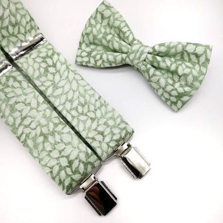 Tirantes y pajarita verde hojas