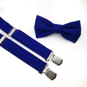 Conjunto de tirantes y pajarita azul klein