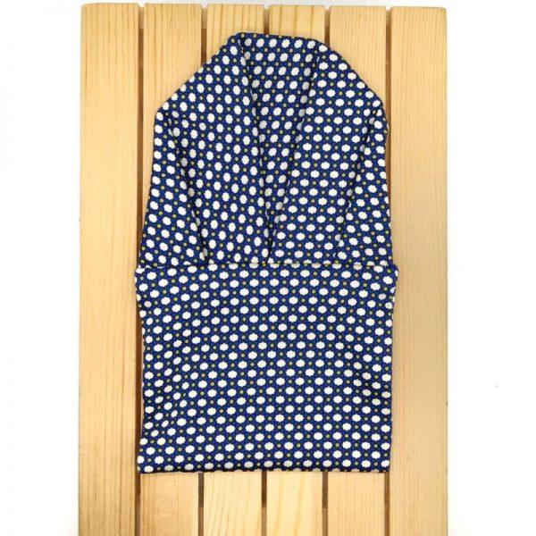 Tirantes y pajarita azul con estampado blanco y amarillo