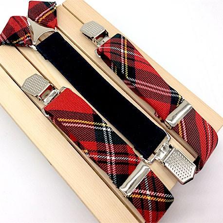 Pajarita roja de cuadros escoceses