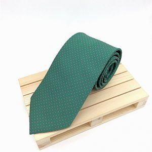 Corbata verde con lunares rosas